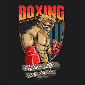Ilustración de mascota americana de boxeo pitbull