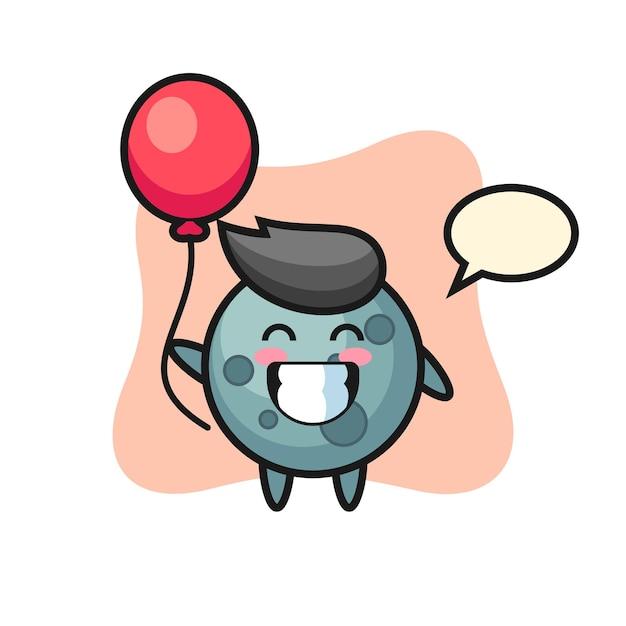 La ilustración de la mascota del asteroide está jugando con el globo, diseño de estilo lindo para camiseta, pegatina, elemento de logotipo
