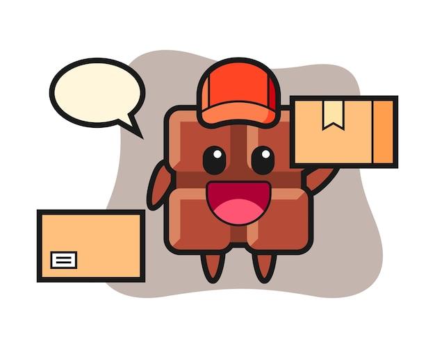 Ilustración de la mascota de la barra de chocolate como mensajero, estilo kawaii lindo.