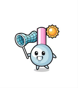 La ilustración de la mascota del bastoncillo de algodón está atrapando una mariposa, diseño de estilo lindo para camiseta, pegatina, elemento de logotipo