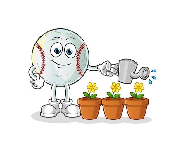 Ilustración de mascota de béisbol regando las flores