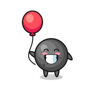 La ilustración de la mascota de la bola de cañón está jugando con el globo, diseño de estilo lindo para camiseta, pegatina, elemento de logotipo