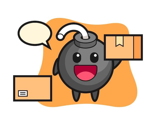 Ilustración de mascota de bomba como mensajero