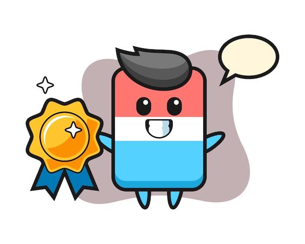 Ilustración de la mascota del borrador que sostiene una insignia dorada, estilo lindo, etiqueta engomada, elemento del logotipo
