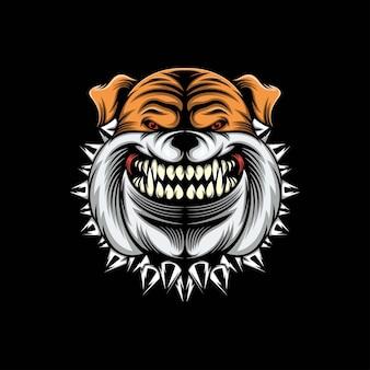 Ilustración de mascota de bulldog de cabeza