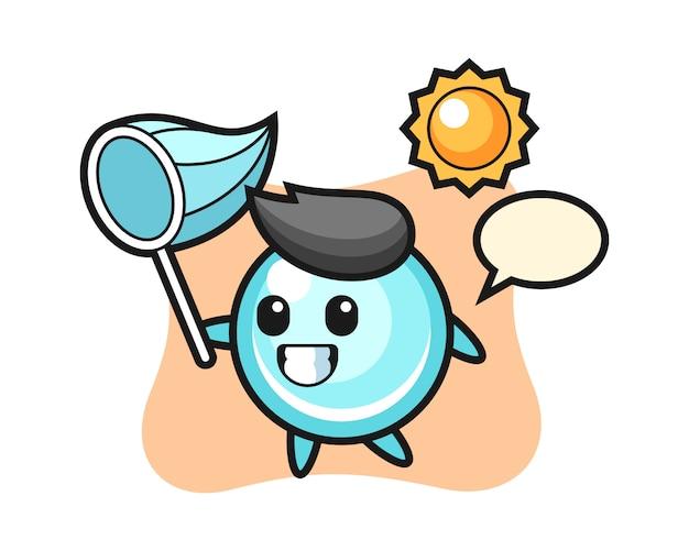 La ilustración de la mascota de la burbuja atrapa la mariposa, diseño de estilo lindo