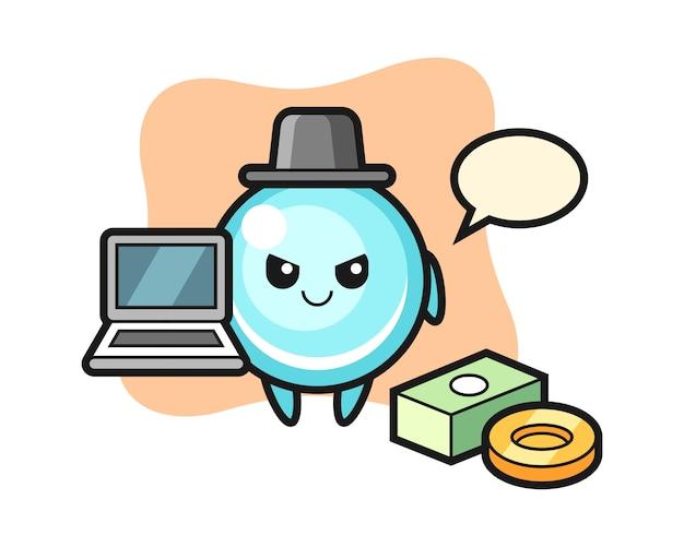 Ilustración de la mascota de la burbuja como hacker, diseño de estilo lindo
