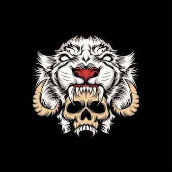 Ilustración de mascota de cabeza de cráneo y león blanco