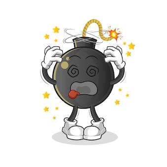 Ilustración de mascota de cabeza mareada de bomba