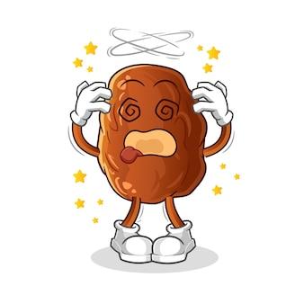 Ilustración de mascota de cabeza mareada de fruta de fecha