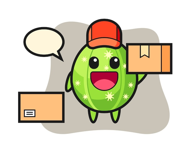 Ilustración de mascota de cactus como mensajero