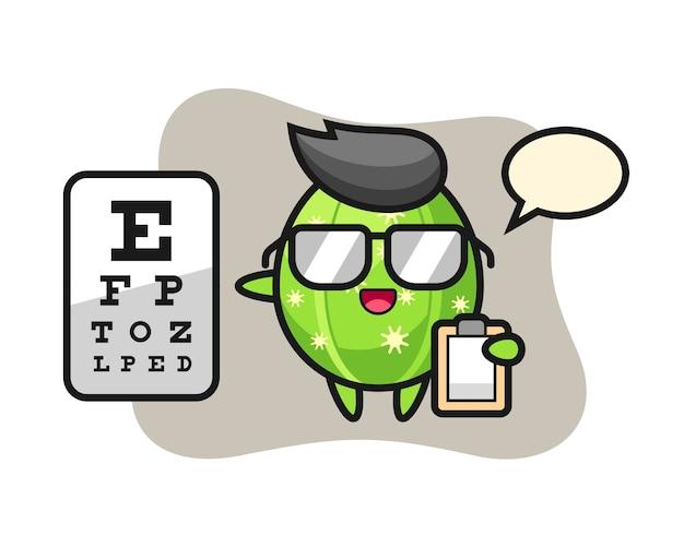 Ilustración de la mascota de cactus como oftalmología.