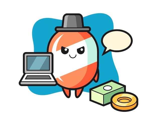 Ilustración de la mascota del caramelo como hacker