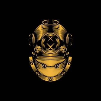 Ilustración de mascota de casco de buceo