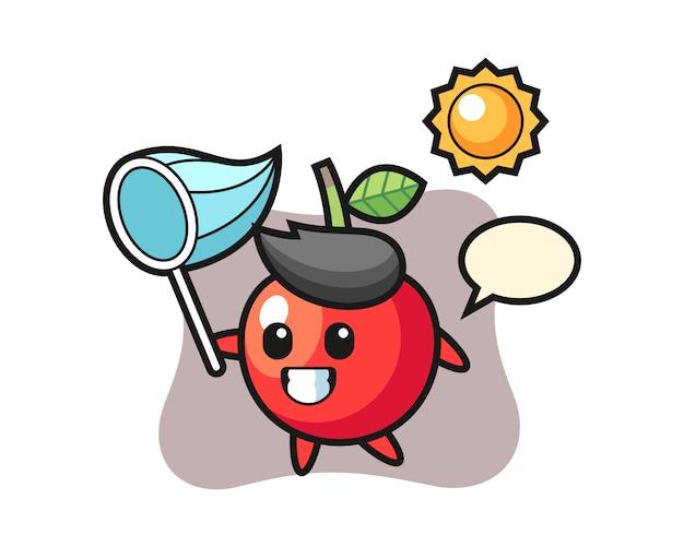 La ilustración de la mascota cherry está atrapando mariposas, diseño de estilo lindo