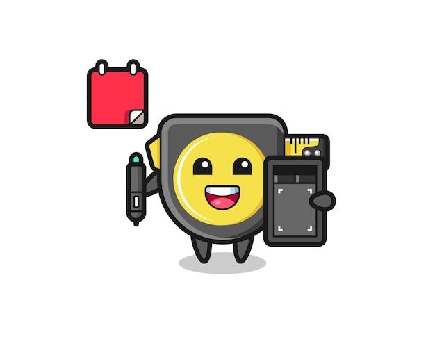 Ilustración de la mascota de la cinta métrica como diseñador gráfico, diseño lindo
