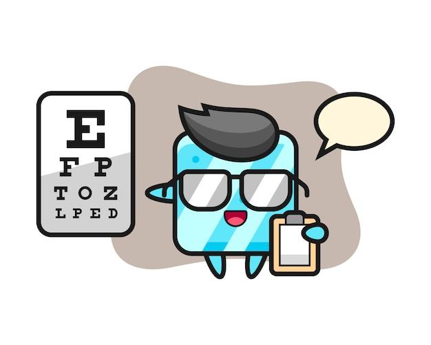 Ilustración de la mascota del cubo de hielo como oftalmología