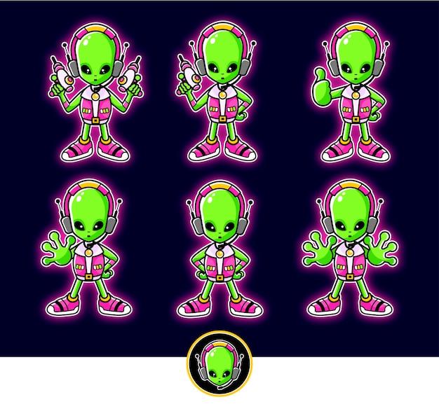 Ilustración de mascota de dibujos animados alienígena