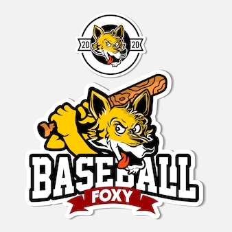 Ilustración de mascota foxy de béisbol
