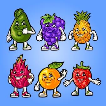 Ilustración de la mascota de frutas en conjunto
