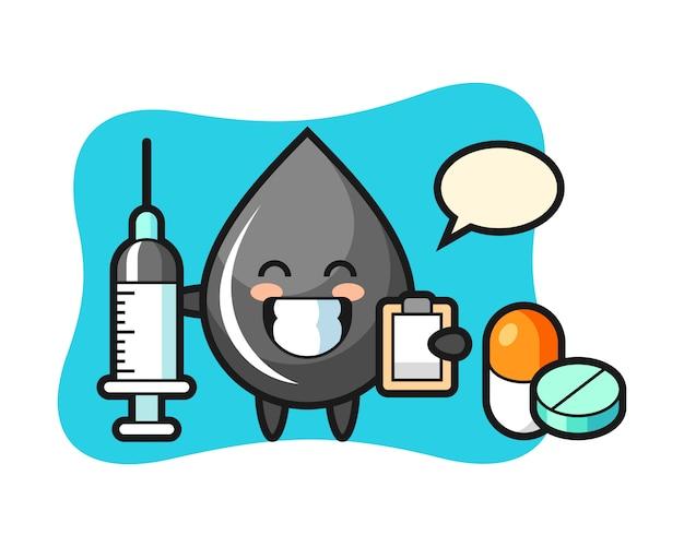Ilustración de mascota de gota de aceite como médico