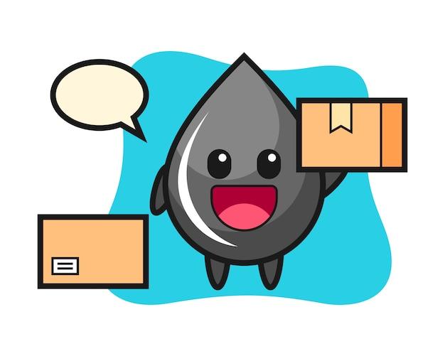 Ilustración de mascota de gota de aceite como mensajero