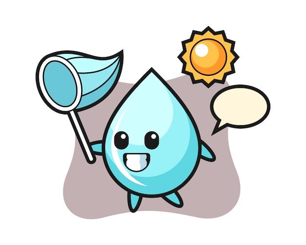 La ilustración de la mascota de la gota de agua atrapa la mariposa, diseño lindo del estilo para la camiseta