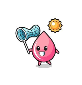 La ilustración de la mascota de la gota de jugo de fresa está atrapando una mariposa, diseño de estilo lindo para camiseta, pegatina, elemento de logotipo