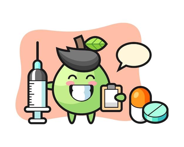 Ilustración de mascota de guayaba como médico, diseño de estilo lindo para camiseta, pegatina, elemento de logotipo