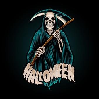 Ilustración de la mascota de halloween de la parca