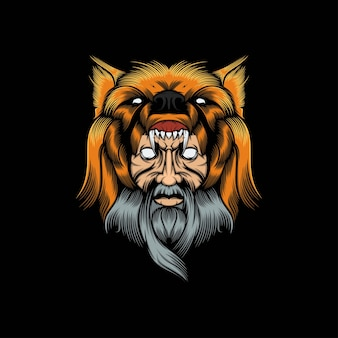 Ilustración de mascota de hombre lobo cabeza