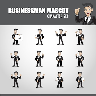 Ilustración de mascota de hombre de negocios
