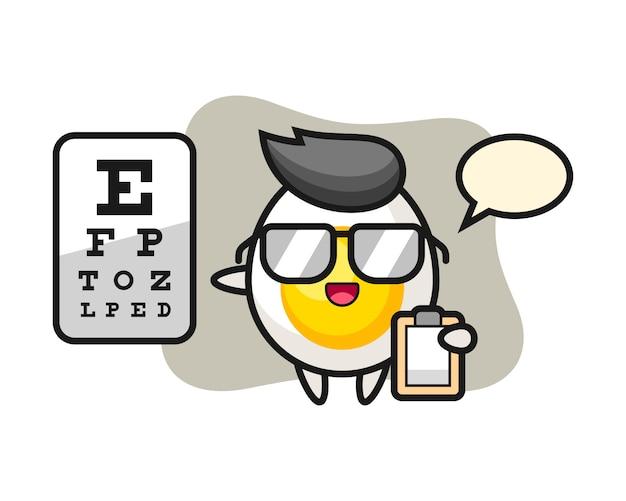 Ilustración de la mascota del huevo cocido como oftalmología
