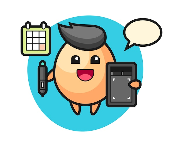 Ilustración de la mascota del huevo como diseñador gráfico, diseño de estilo lindo para camiseta, pegatina, elemento de logotipo