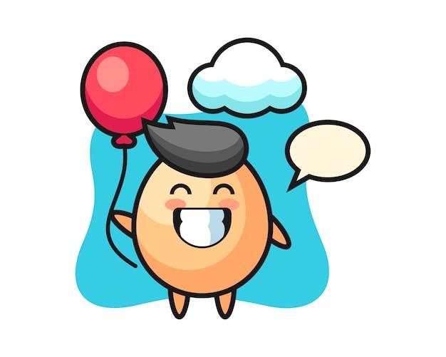 La ilustración de la mascota del huevo está jugando al globo, estilo lindo para la camiseta, la etiqueta engomada, el elemento del logotipo