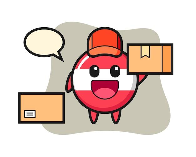 Ilustración de la mascota de la insignia de la bandera de austria como mensajero