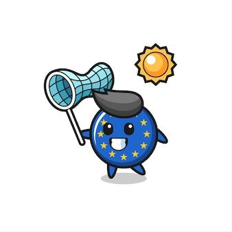 La ilustración de la mascota de la insignia de la bandera de europa está atrapando una mariposa, diseño de estilo lindo para camiseta, pegatina, elemento de logotipo