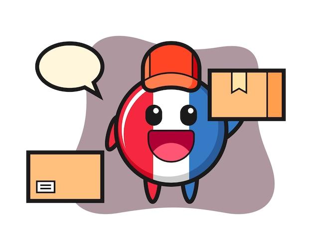 Ilustración de la mascota de la insignia de la bandera de francia como mensajero