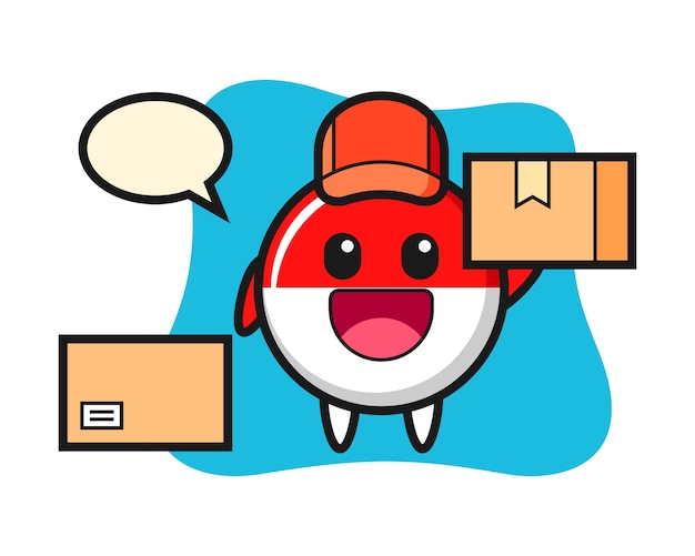 Ilustración de la mascota de la insignia de la bandera de indonesia como mensajero