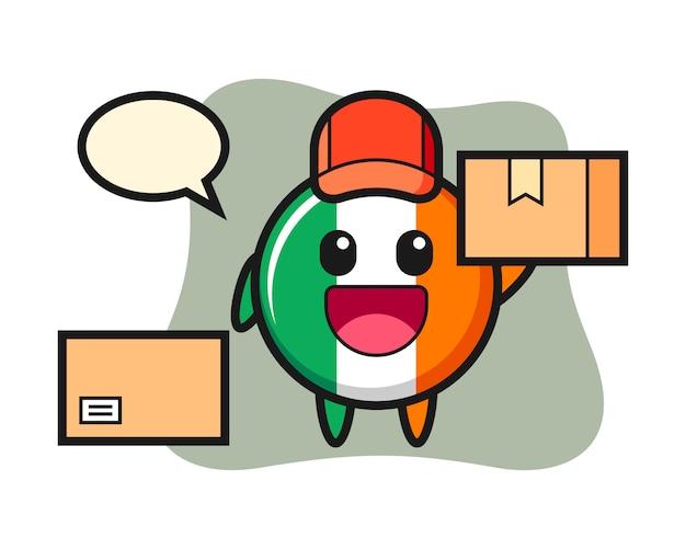 Ilustración de la mascota de la insignia de la bandera de irlanda como mensajero