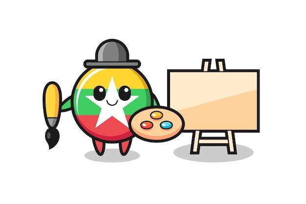 Ilustración de la mascota de la insignia de la bandera de myanmar como pintor, diseño lindo