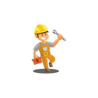 Ilustración de la mascota de la insignia del emblema del taller mecánico del trabajador de la llave que sostiene el hombre de la reparación