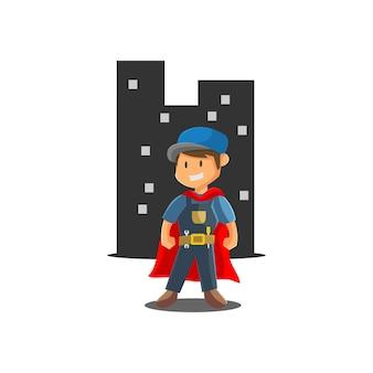 Ilustración de la mascota de la insignia del emblema del taller mecánico del trabajador del superhéroe del hombre de reparación