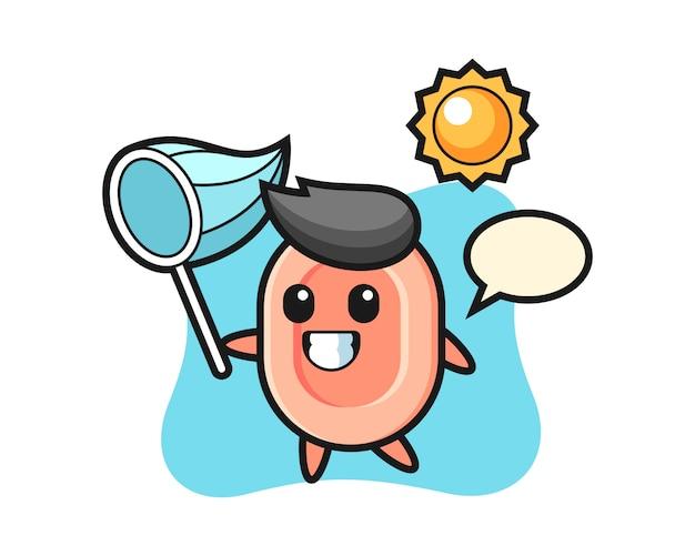 La ilustración de la mascota del jabón atrapa la mariposa, estilo lindo para la camiseta, la pegatina, el elemento del logotipo