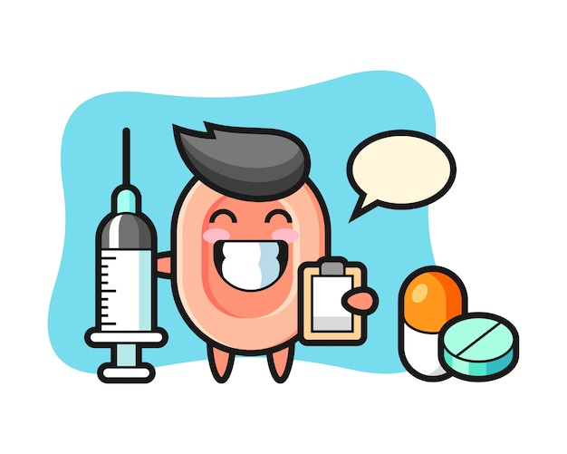 Ilustración de mascota de jabón como médico, estilo lindo para camiseta, pegatina, elemento de logotipo