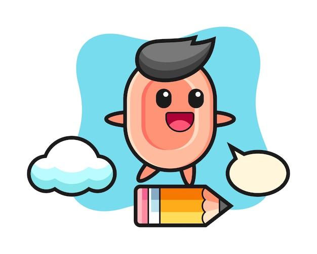 Ilustración de mascota de jabón montando en un lápiz gigante, estilo lindo para camiseta, pegatina, elemento de logotipo