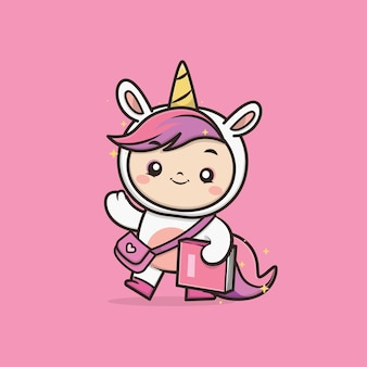 Ilustración de mascota kawaii lindo unicornio