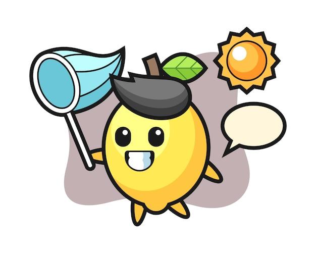 La ilustración de la mascota de limón está atrapando mariposas