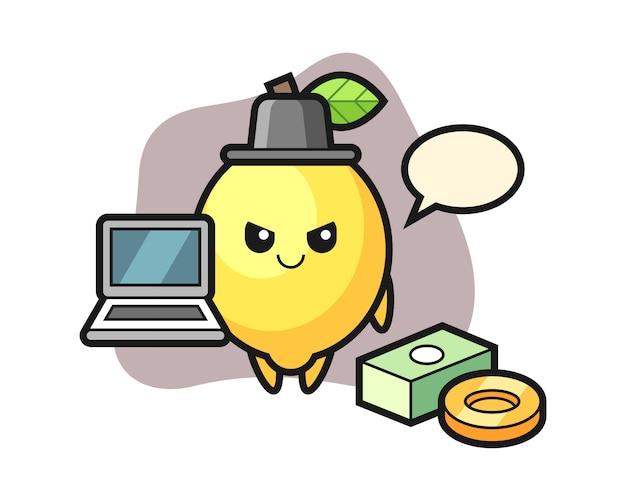 Ilustración de mascota de limón como hacker