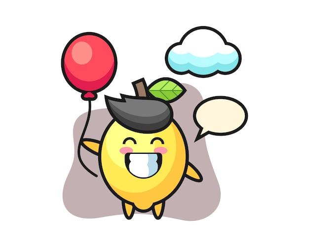 Ilustración de mascota de limón está jugando globo
